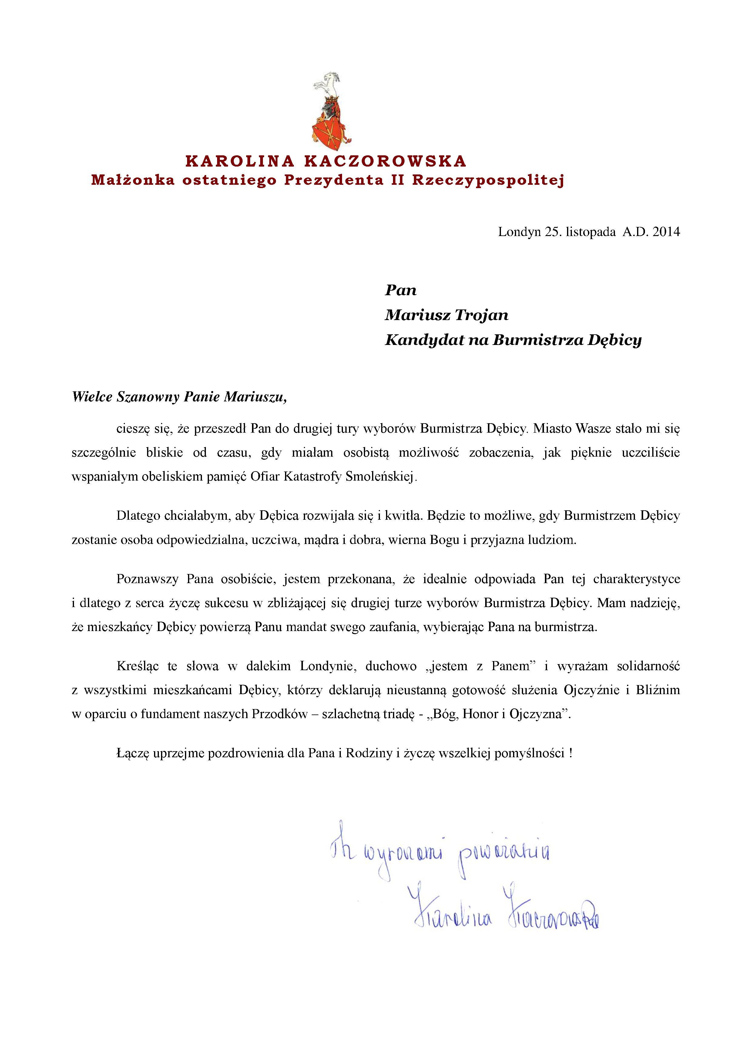 prezydentowa kaczorowska-list do pana mariusza trojana - dbica -1--page1